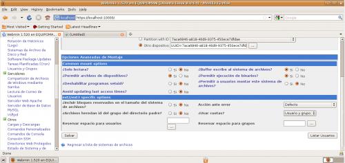 Webmin - Cuotas de usuario